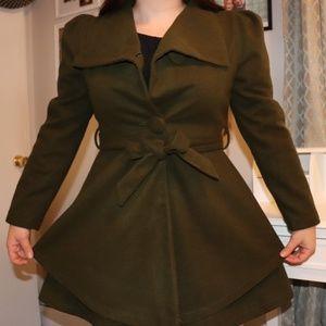 Jackets & Blazers - EUC - Cute Green Fleece Parka Jacket
